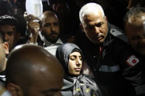 Hana Shalabi arrives to al-Shifa hospital in Gaza City, Sunday