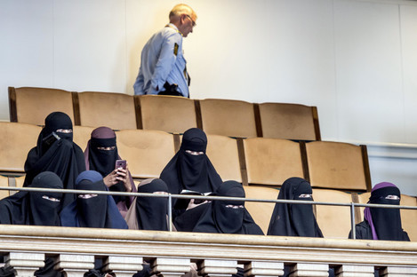 Women in niqab in the audience seats in the Danish Parliament at Christiansborg Castle in Copenhagen, Denmark