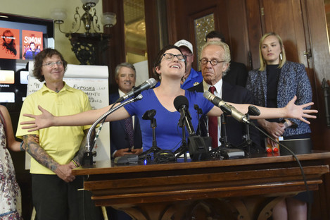 Clergy abuse survivor Marie Mielke talks about her feelings during a press conference