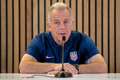 USA manager Dave Sarachan speaking at today's press conference.
