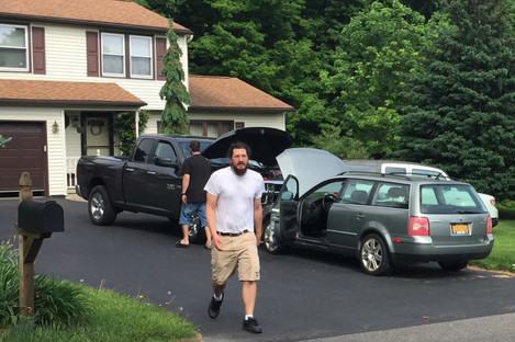 Rotondo preparing to leave the house.