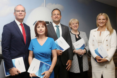 Pictured (l to r): Tánaiste Simon Coveney, Minister for Culture, Heritage & the Gaeltacht Josepha Madigan, Taoiseach Leo Varadkar, Minister for Business, Enterprise & Innovation Heather Humphreys, and Minister of State for European Affairs Helen McEntee, as they launched the plan today.