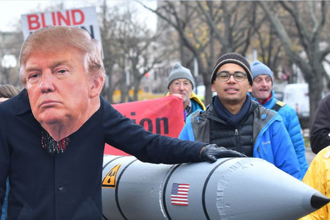 Protesters demonstrating against nuclear weapons in front of the US Embassy in Berlin last November.