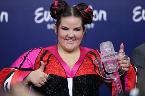 Netta of Israel poses with the Trophy after winning the 2018 Eurovision Song Contest.