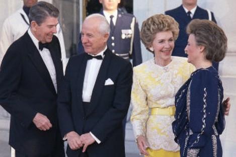 1988 file photo of Turkish President Kenan Evren with US President Ronald Reagan.
