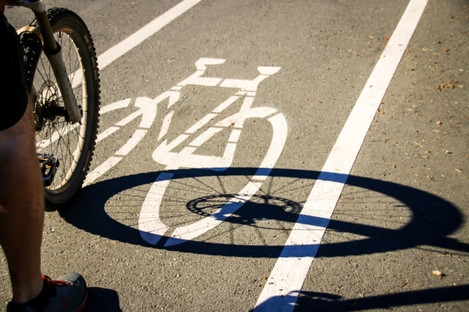 Cyclist using a cycle lane