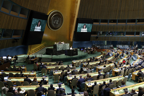 US Ambassador to the United Nations Nikki Haley speaks during an emergency session of the UN General Assembly in New York.