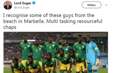 Lord Sugar apologised on Twitter after posting and deleting a racist tweet about Senegal's football team