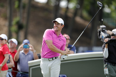 Rory McIlroy of Northern Ireland watches his drive on 18 during the Second Round of the Travelers Championship.