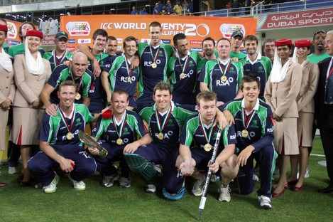 The Irish players celebrate after beating Afghanistan in the final.