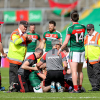 Mayo midfielder O'Shea brought to hospital for scans on suspected dislocated shoulder
