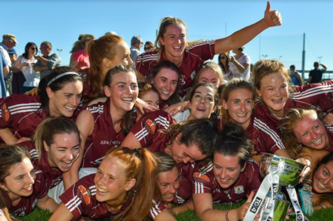The Galway players with their trophy.