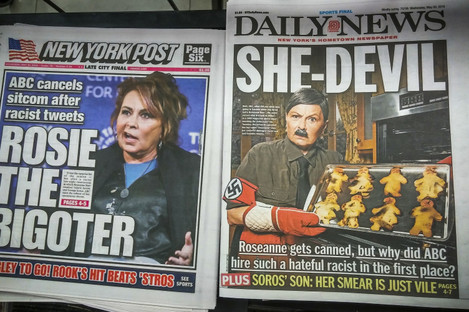 Headlines of New York tabloid newspapers back on 30 May.