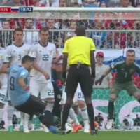 Suarez put Uruguay ahead against the hosts with a well-placed free-kick