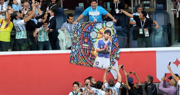 Maradona receives treatment after Argentina's dramatic win