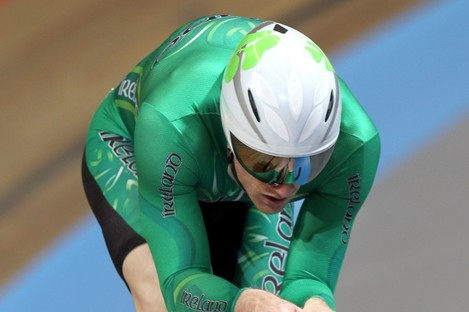 Martyn Irvine in action at the UCI Track Cycling World Championships