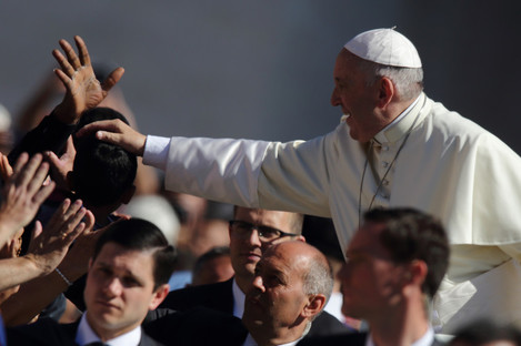 The Pope in the Vatican yesterday.