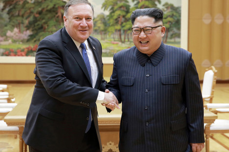Mike Pompeo with Kim Jong-Un in Pyongyang in May.