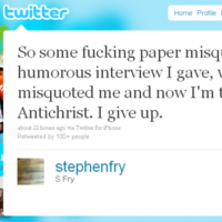Stephen Fry melts down, quits Twitter (again)