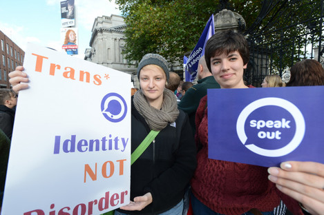 (LtoR) Aoife O'Driscoll and Rosa Devine with trans people from across Ireland rallying for gender recognition in 2012.