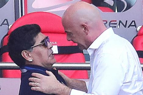 Political football: Diego Maradona and FIFA chief Gianni Infantino.