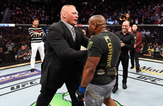 Cormier in confrontation with Lesnar after becoming UFC's second two-weight champ