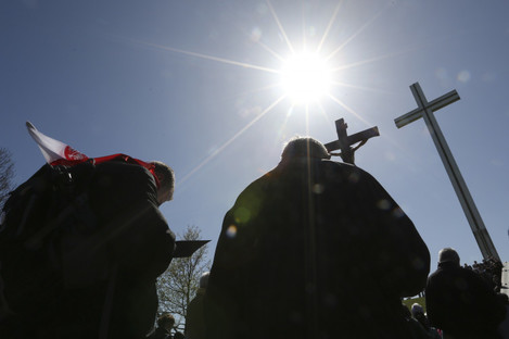 Members of the public gather at the Papal Cross in the Phoenix Park.
