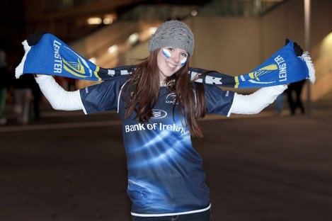 Leinster fan Claire King from Churchtown at the Aviva Stadium.