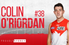 Tipperary's O'Riordan set to make AFL debut on Sunday for Sydney Swans