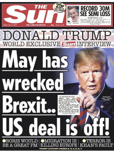 Donald Trump tells the Sun he told Theresa May how to do Brexit but she wrecked it
