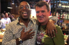 People on Twitter are really surprised by Roy Keane's choice of t-shirt in a photo he took with Ian Wright