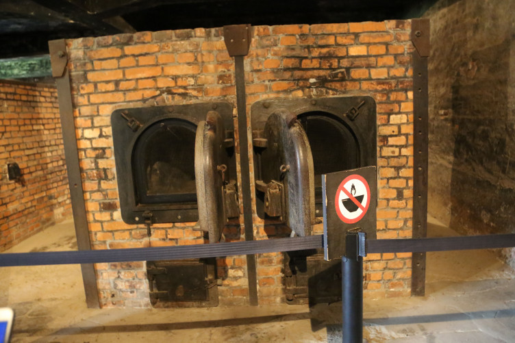 Interior of a crematorium at the Auschwitz-Birkenau extermination camp.