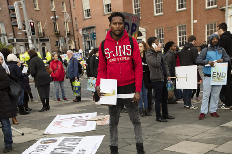 A demonstration against Direct Provision, file photo.