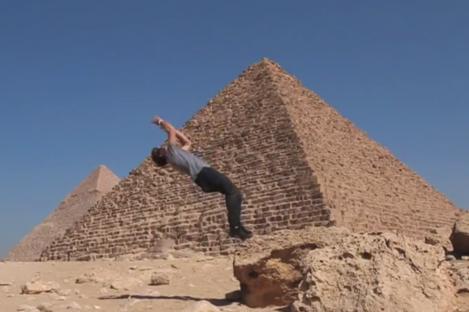 Doing a backflip in front of the pyramids. As you do.