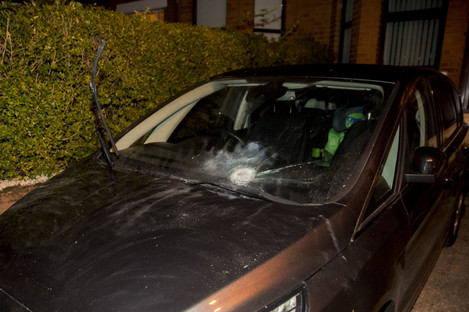 Damage to a car in the driveway of Adams' home following the attack.