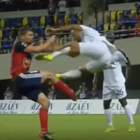 French defender lands flying drop-kick on opponent in Champions League qualifier