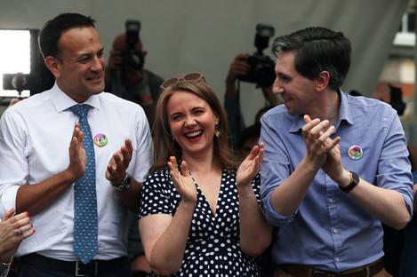Leo Varadkar, Senator Catherine Noone and Minister for Health Simon Harris at Dublin Castle for the referendum result.