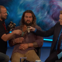 Jason Momoa, Conan O'Brien and the cast of Aquaman shared a few cans of Guinness