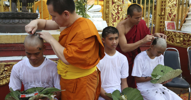 Thai soccer boys' heads shaved for Buddhist ordination