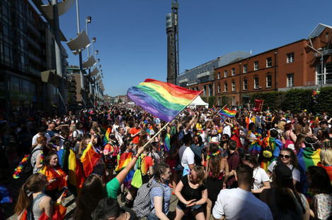 Participants in last month's Gay Pride parade festival in Smithfield, Dublin