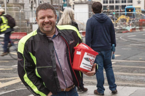Brian O'Callaghan Westropp collecting money for Blood Bikes East.