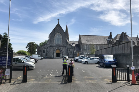 Emergency services at the scene outside the Immaculate Conception Church in Clondalkin, Dublin last month
