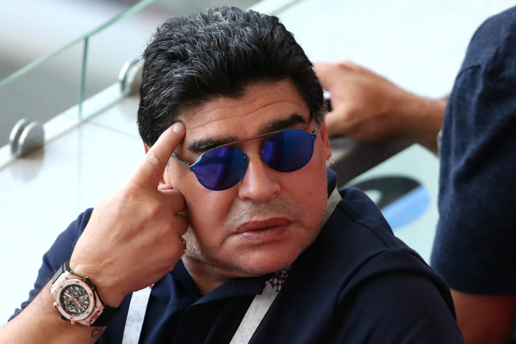Family affair: Argentina great Diego Maradona.