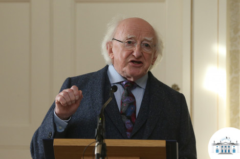 Michael D Higgins at a ceremony at Áras an Uachtaráin on 30 November 2017.