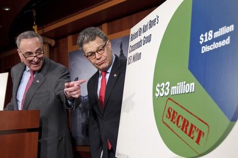 Democratic senators Charles Schumer and Al Franken criticise the secretive nature of donations to so-called 'Super PACs'.
