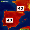 Temperatures in Spain and Portugal could top 48 degrees