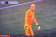 Mic'd up Brad Guzan interviewed by TV commentators during the MLS All-Star game