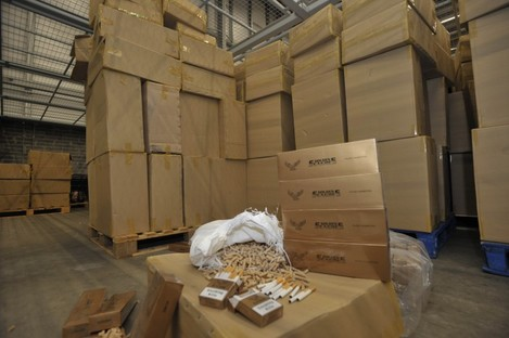 The 38 million cigarettes seized at Dublin Port yesterday.