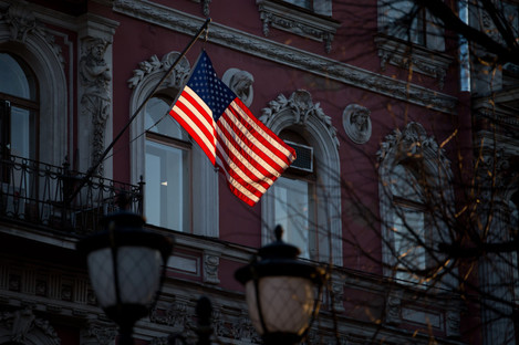 A US flag flies over the US Consulate General in St Petersburg.