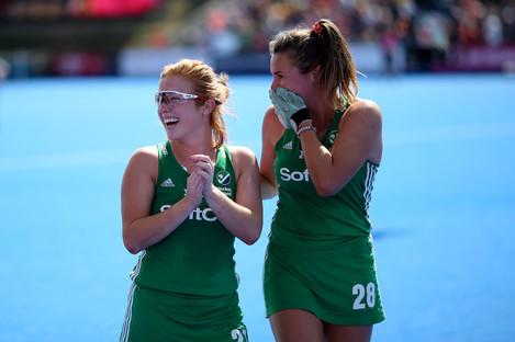 Ireland's Zoe Wilson and Deirdre Duske celebrate